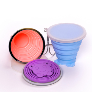 Coffee wash travel cup reusable foldable plastic silicone collapsible cup