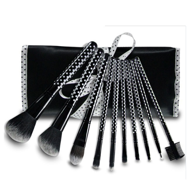 10PCS black white dot maquillaje make up brushes makeup brush set with PU bag