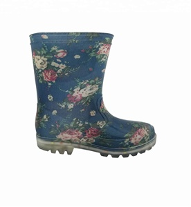high quality and cheap flower printing pvc transparent kids wellington rain rubber boots led rain boots
