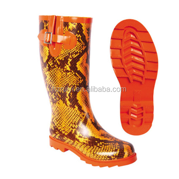 women fashion snake skin print rubber overshoes knee high boots with buckle