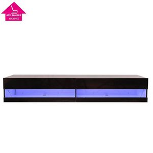 LED TV Unit Home TV Cabinet Stand w/ Glass Shelves