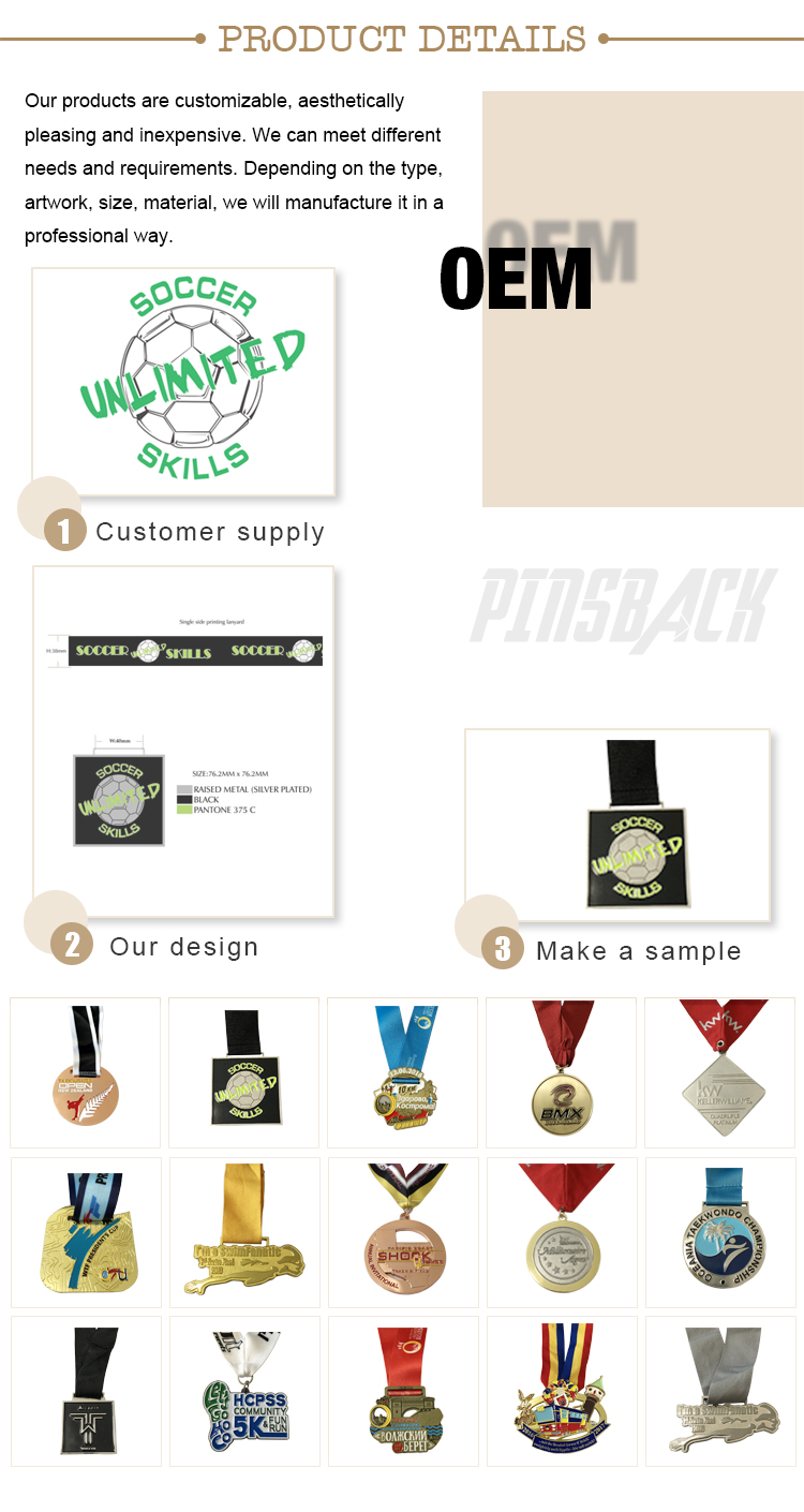 wholesale custom made souvenirl hight polish silver metal  award medal 2.5 inch kinds of ribbon