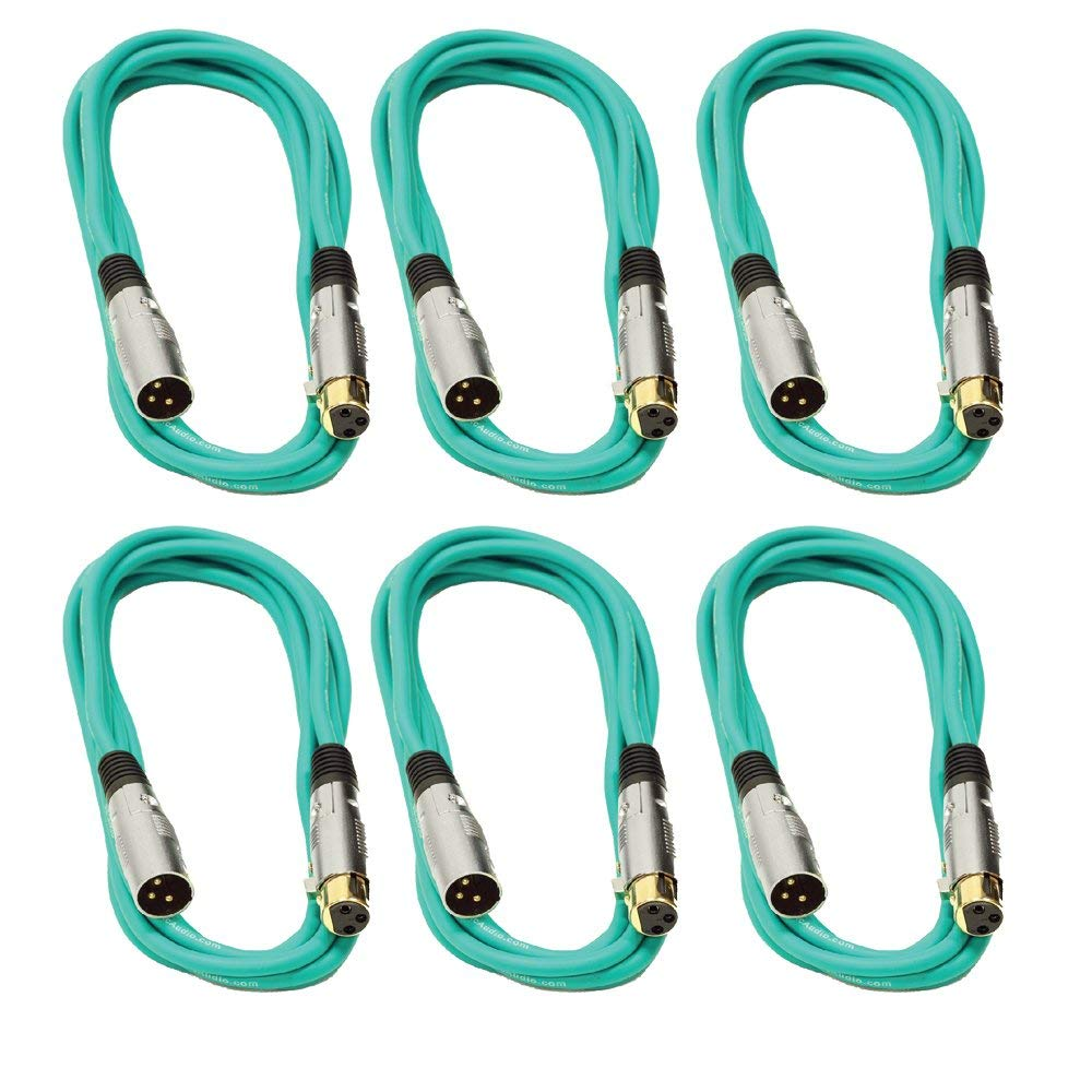 Seismic Audio SAPGX-10Green-6 Pack Premium 10' Green Gold Plated XLR Microphone Patch Cables, 6 Pack