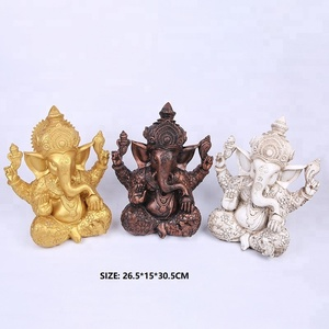 2018 Chinese Factory Custom Made Handmade Carved Hot New Product Polyresin India Religious Gift Items Hindu Elephant God