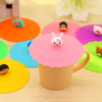 Q028 Korean cartoon home coffee health bowl cover wholesale/silicone cup cover