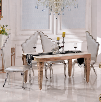 Th393 Stainless Steel Gold Dining Room Table Sets