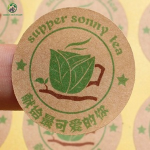 High Quality Custom Size Round Circle Recycled Brown Kraft Paper Stickers