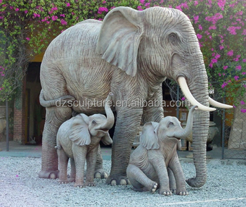 Design Garden And Park Decoration Life Size Mother Baby Elephant Statue