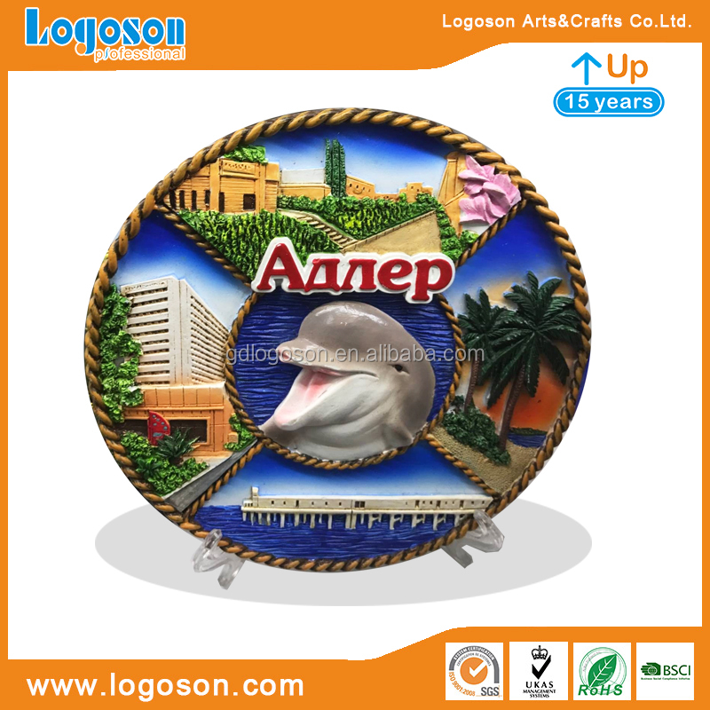 China Supplier Custom Souvenir Plate Handmade Enamel Decoration Ceramic Plate Own logo Porcelain Round Plate with Holder