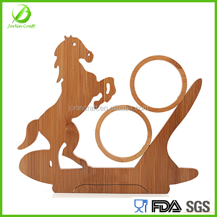 horse shape bamboo collapsible single bottle wine display rack