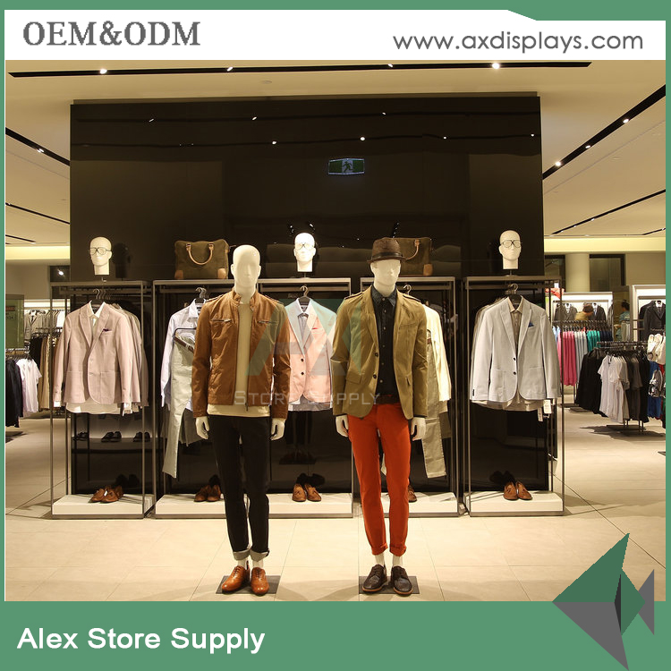 ZARA mens garment shop decor and clothing store models display racks