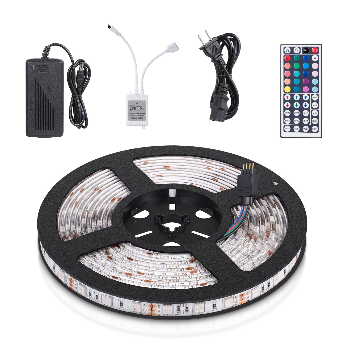 Homaz Multicolored LED Strip Kit Flexible LED Strip Waterproof Full Color Changing Strip Light 16.4ft 5Meter / Reel 300X RGB SMD5050 Lamps with 44 Key IR Remote and 12V 5A 60W Power Supply