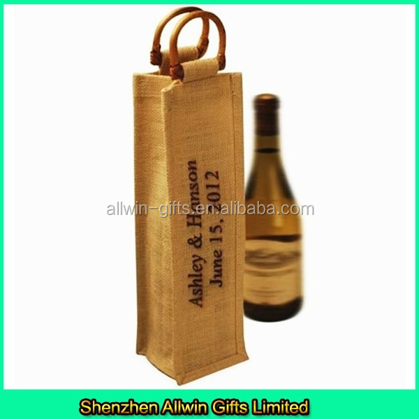 Single Jute wine bottle holder/Jute wine bottle bag Wholesale
