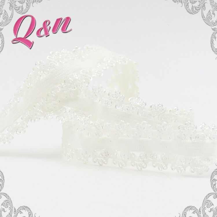 Fancy embroidered  elastic stretch lace ribbon trim