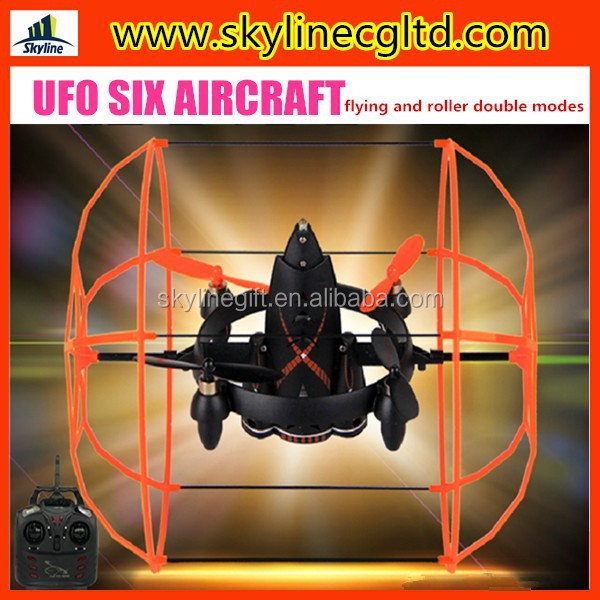 2.4G 4ch six axis rc aircraft, flying saucer toy, flying and roller double modes UFO children's helicopter toy