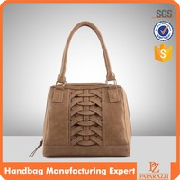 D-030 Hand-knitted workmanship long strap PU leather shoulder bag ladies leather hand bag for female