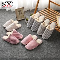 Slip on wool collar lightweight sole fur slides slipper women