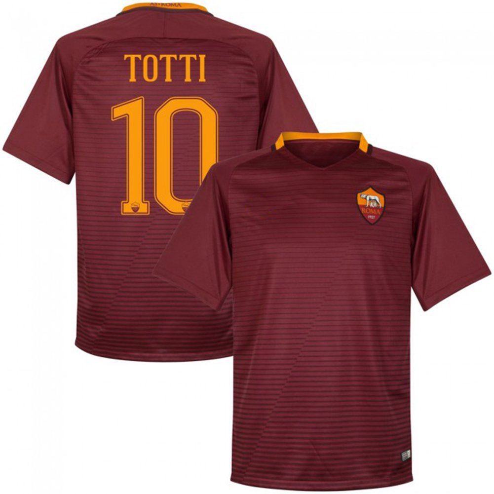04a590fd24a 2016 2017 AS Roma Trikot 10 Francesco Totti Home Football Soccer Jersey Kit  In Red