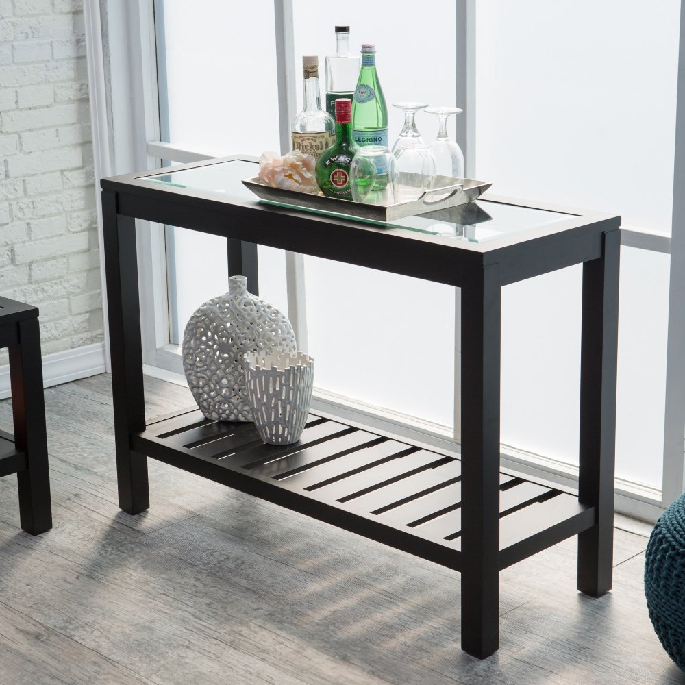 Buy Bistro Console Tables Glass Top Slat Bottom Rectangle Wood