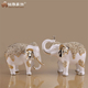 Christmas decoration white and silver/rose gold babies elephant decor with resin material for TV closet decor
