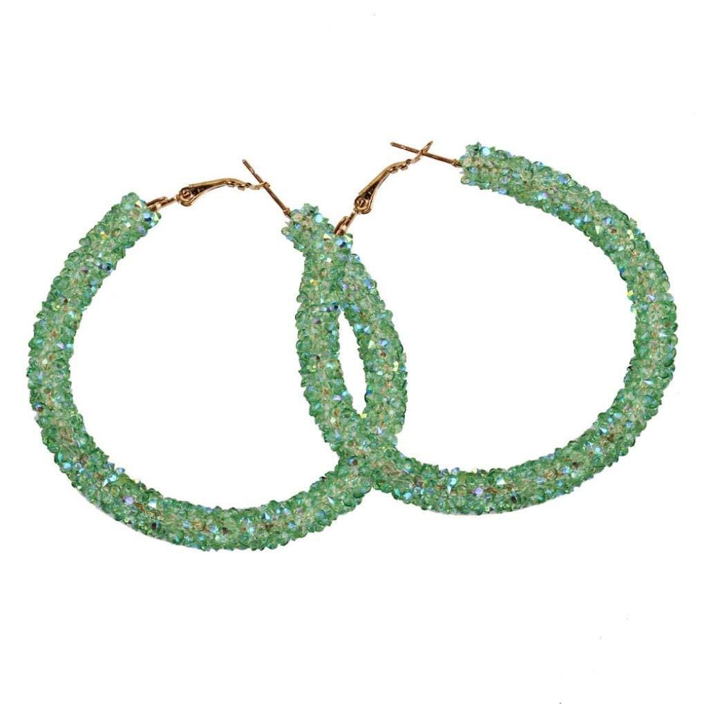 Women Girls Fashion Shining Round Circular Earrings Hoop Earrings Ear Clip Jewelry Gift