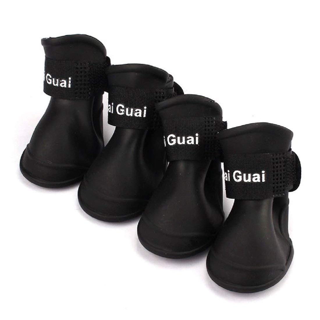 TOOGOO(R) 4 pieces Dog Rain Boots Waterproof Shoes Accessories Pet Dog Medium Size (Black, L)