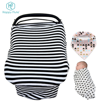 HF009 baby products cotton muslin fabric car seat canopy nursing cover with baby bib