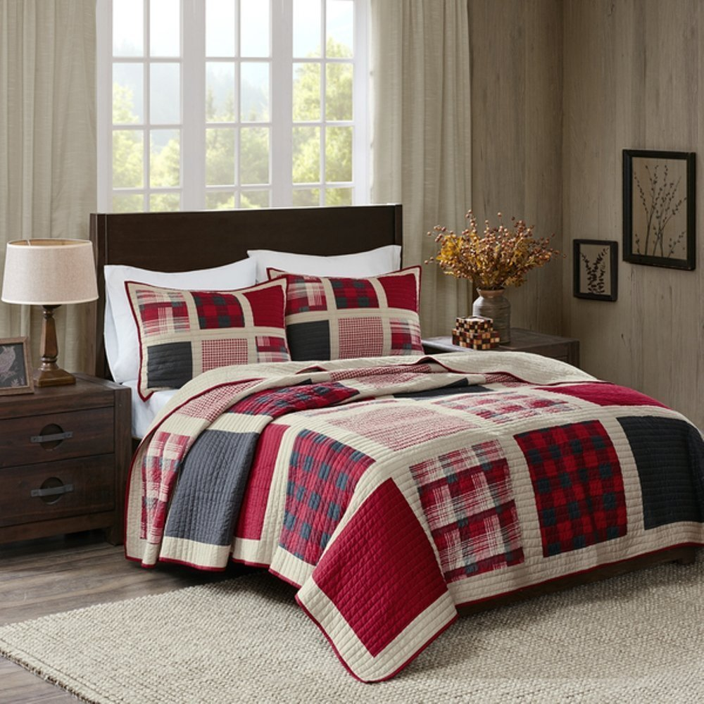 3pc Red White Black Grey Plaid Themed Quilt Full Queen Set, Burgundy Beige Dark Grey, Patchwork Madras Lodge Cabin Check Theme Bedding, Patch Work Lumber Jack Checkered Bed Pattern