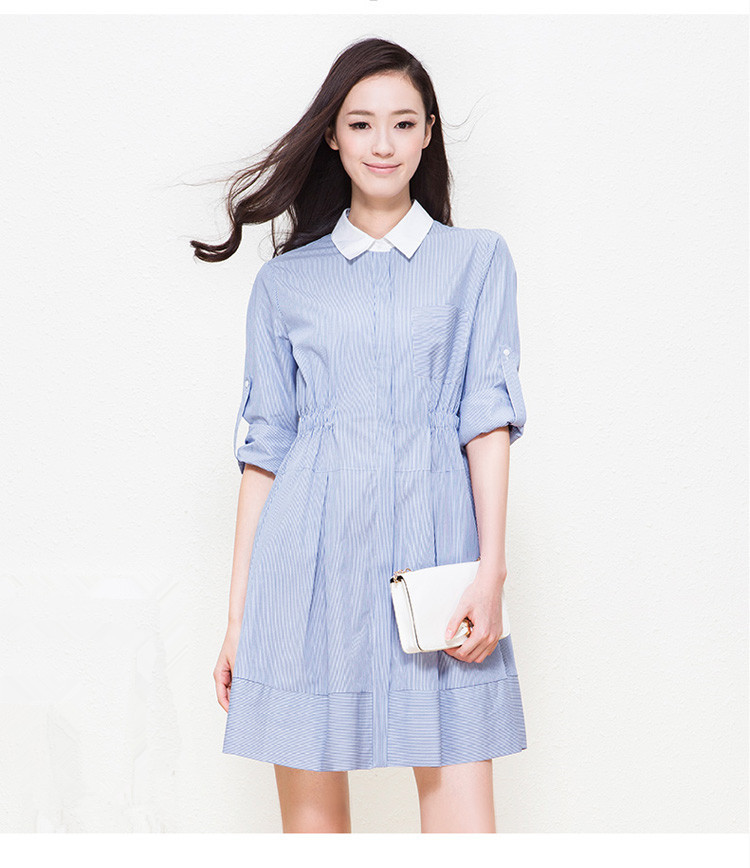 70d88fc8f3fe Get Quotations · 2015 New Summer Autumn Blue Vertical Stripes Cotton Linen  Dress Contrast Turn-down Loose Slim