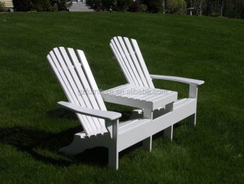 White Color Solid Wood Adirondack Double Chairs Seaters With Table Wholesale