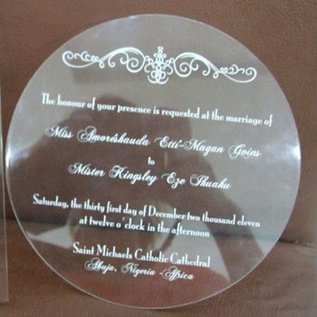 round acrylic wedding invitations clear acrylic invitation card