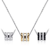 Fashion Gold Black Crystal Cylinder Pendant Necklace Jewelry