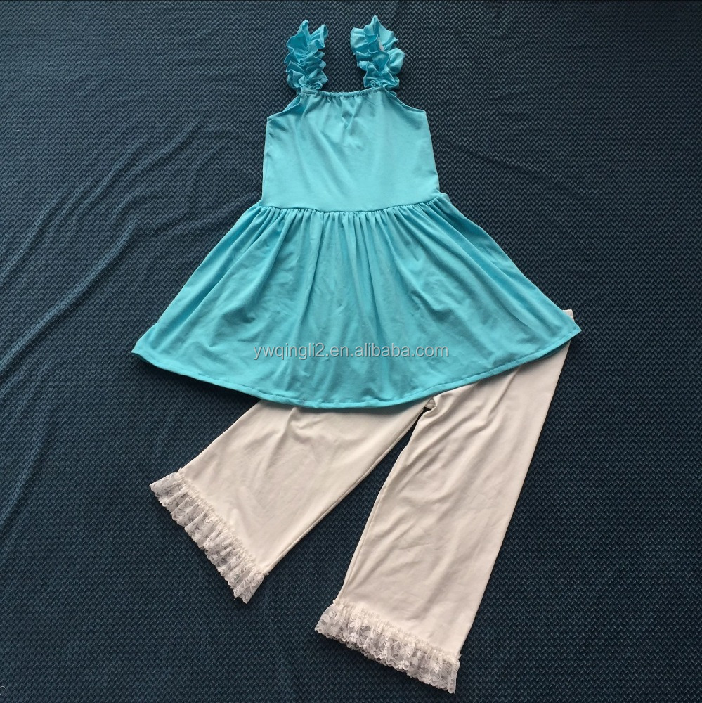 QL-403 blue ruffle braces skirt and baby white pants match lace ruffle children clothing 2016