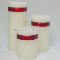 white paraffin wax unscented long burning round pillar candle