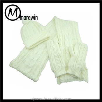 Morewin Amazon Supplier Custom Knitted Scarf Beanie And Glove Set ... b86b3eaae6d