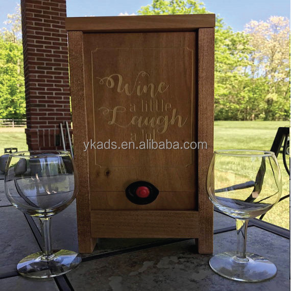 Round decoration wooden wine box with Laser Engraving