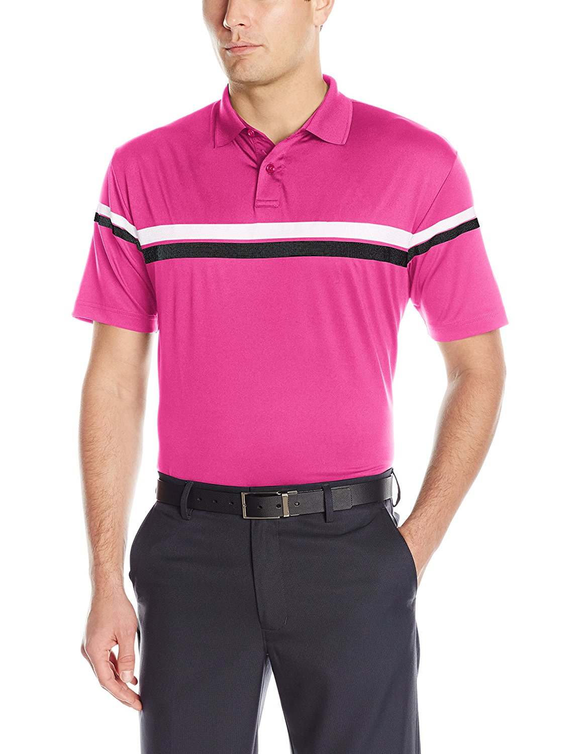 Callaway Men's Golf Performance Short Sleeve Athletic Printed Stripes Polo Shirt
