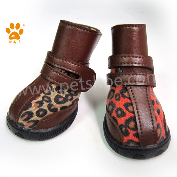 JML latest leopard fabric cheap warm snow boots for dog durable military dog shoes
