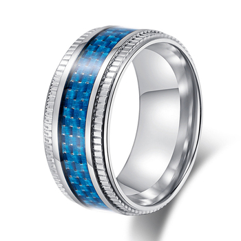 Stainless Steel Finger Ring Blue Carbon Fiber Inlay Friendship Rings Men Rings View Vintage Friendship Rings Oem Product Details From Shenzhen Sune