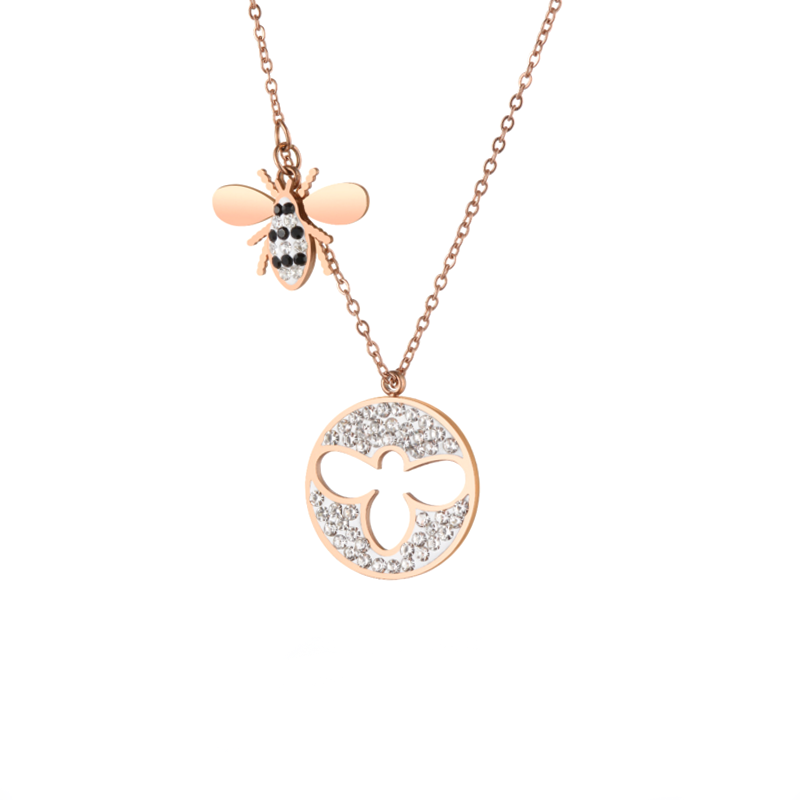 2019 New Invention Products Fashion Jewelry Rose Gold Adorable Honey Bee Pendant For Party Usage, Black/gold/rose gold/blue/steel;any color can be customizable