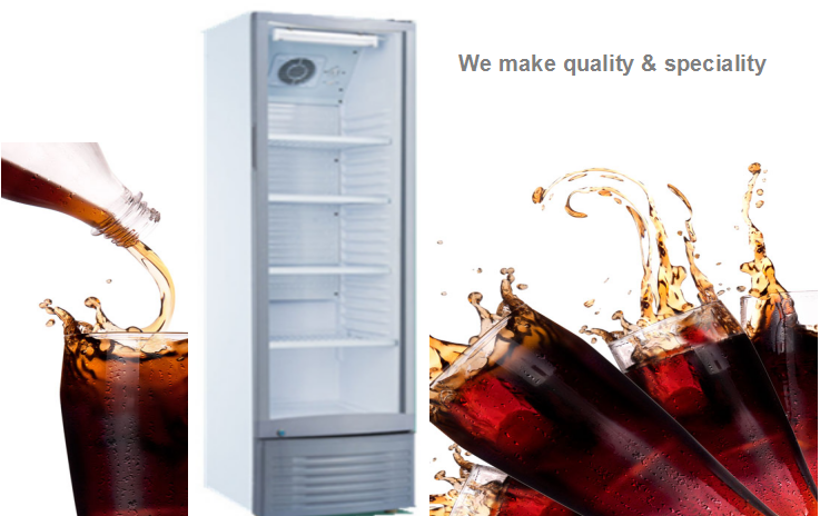 210L Hot Sale Supermarket Standing Single Glass Door Fridge With Blower Cooled Refrigerating System