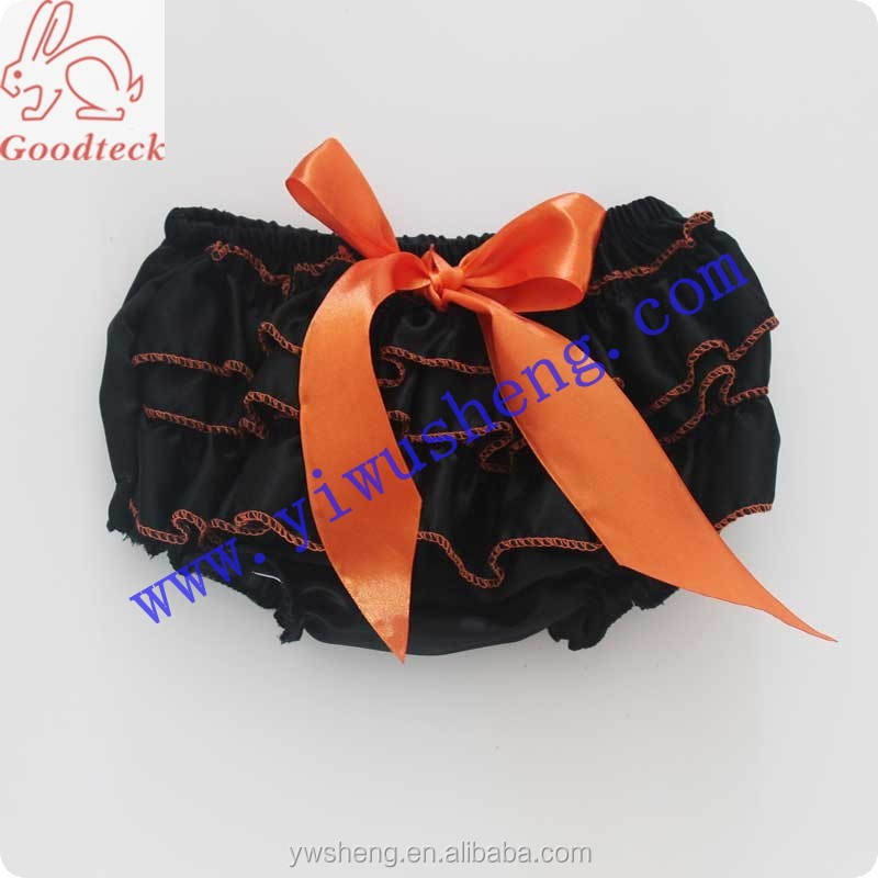 Halloween black baby girl bloomer,lovely satin girl panty bloomer with <strong>orange</strong> along