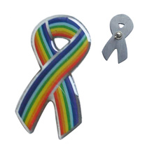 Rainbow logo ribbon lapel pin for association