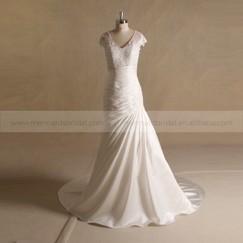 a6c45436fc Graceful Mermaid Beaded Neckline Pleating Skirt Applique Cap Sleeve Wedding  Dress