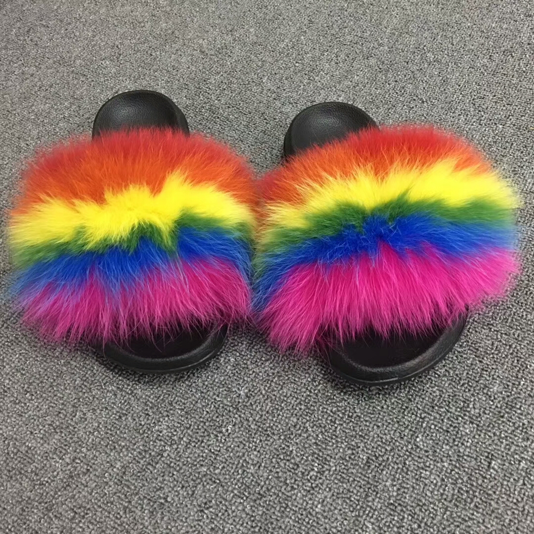 57566c87f23 Fashion ladies rainbow slides sandals colorful warm open toe fur slippers  women real fox fur slippers
