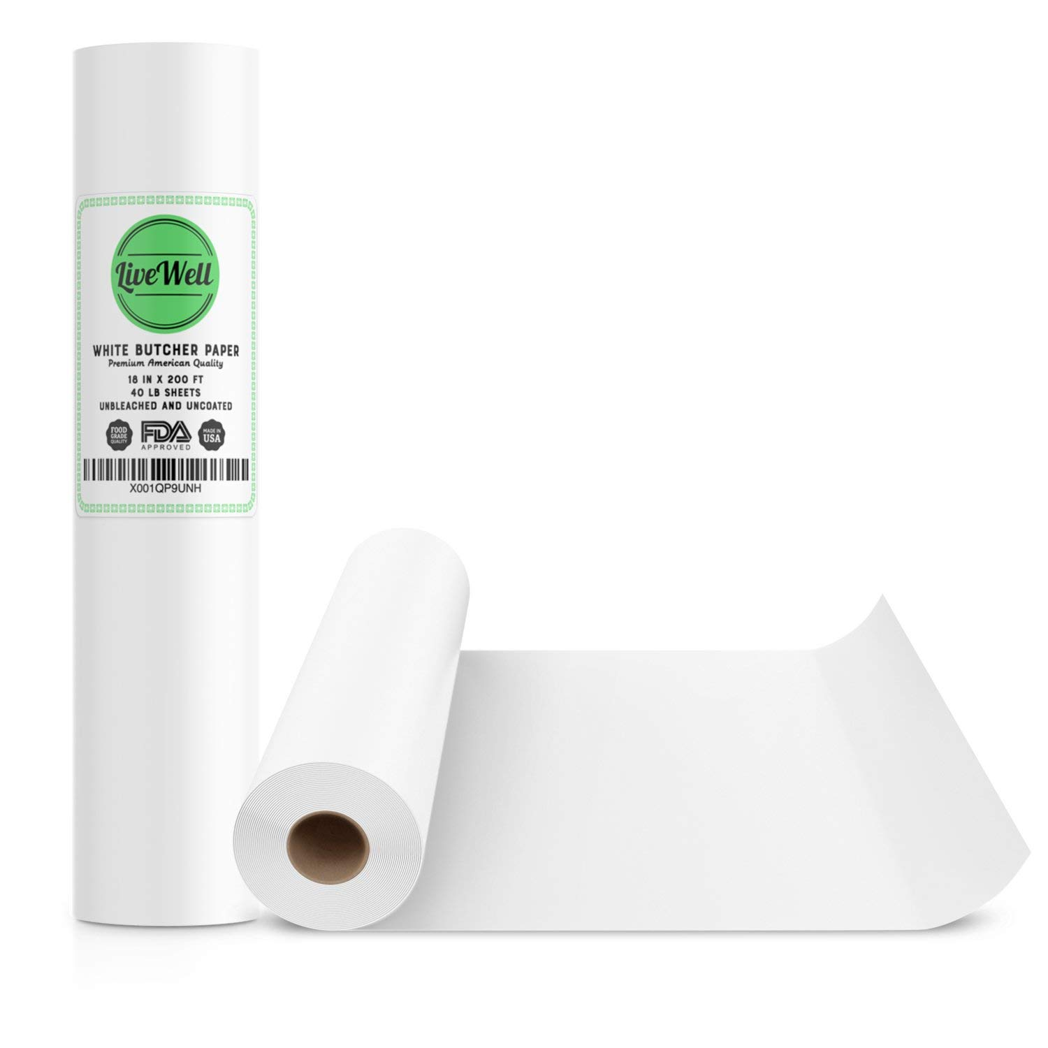 220793ee6b2 Get Quotations · White Kraft Butcher Paper Roll - 18 Inch x 200 Feet (2400  Inch) -