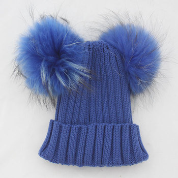 Myfur Royal Blue Double Raccoon Fur Pom Poms Attached Wool Knitting Beanie  Hat 0c8bb54550d