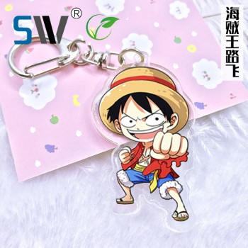 Factory direct sale clear anime acrylic one piece keychain