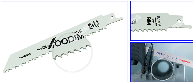150mm S611DF bi-metal reciprocating sabre saw blade for wood and metal cutting