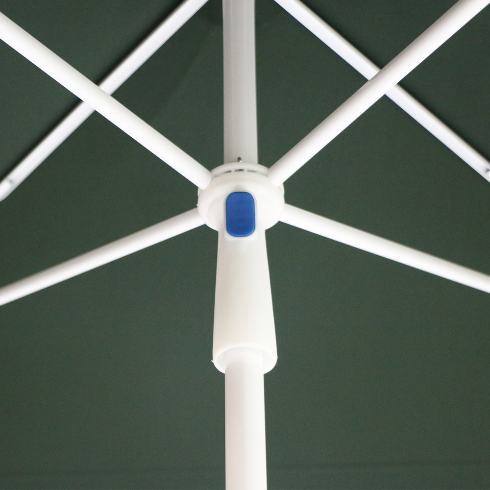 7FT Fifth of the grid UV80+ Sandblasting zinc alloy tilt Square Beach Umbrella with the same color edging.